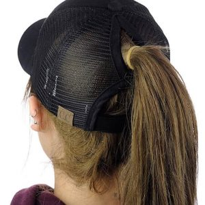 Messy Bun Black Baseball Hat