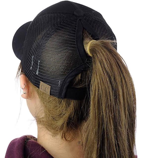 Messy Bun Black Baseball Hat
