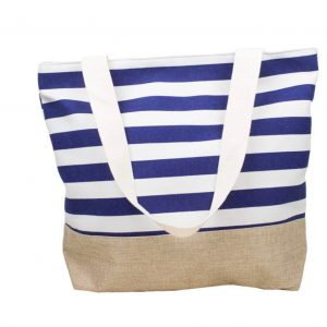 Navy White Striped Beach Bag